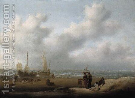 A fishmonger on the beach by (after) Simon De Vlieger - Reproduction Oil Painting
