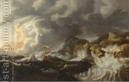 A gale threemasters foundering off a rocky coast by (after) Simon De Vlieger - Reproduction Oil Painting
