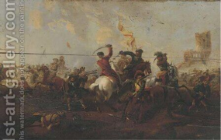 A cavalry skirmish by (after) Simon Johannes Van Douw - Reproduction Oil Painting