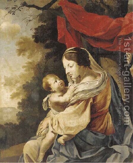 The Virgin and Child 2 by (after) Simon Vouet - Reproduction Oil Painting