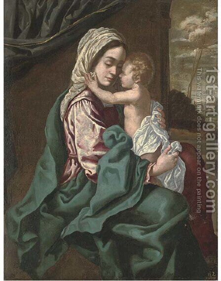 The Madonna and Child by (after) Simone Cantarini (Pesarese) - Reproduction Oil Painting