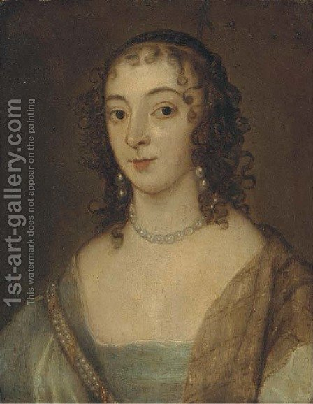 Portrait of a lady, small quarter-length, in a blue dress and pearl necklace by (after) Dyck, Sir Anthony van - Reproduction Oil Painting