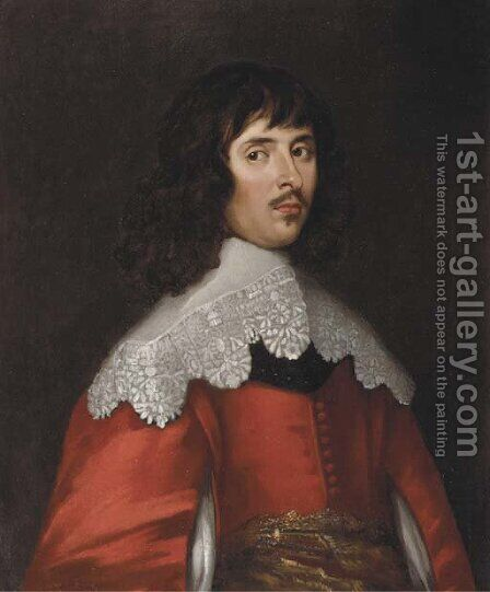 Portrait of a man, half-length, in a red costume with slashed sleeves and a white collar by (after) Dyck, Sir Anthony van - Reproduction Oil Painting