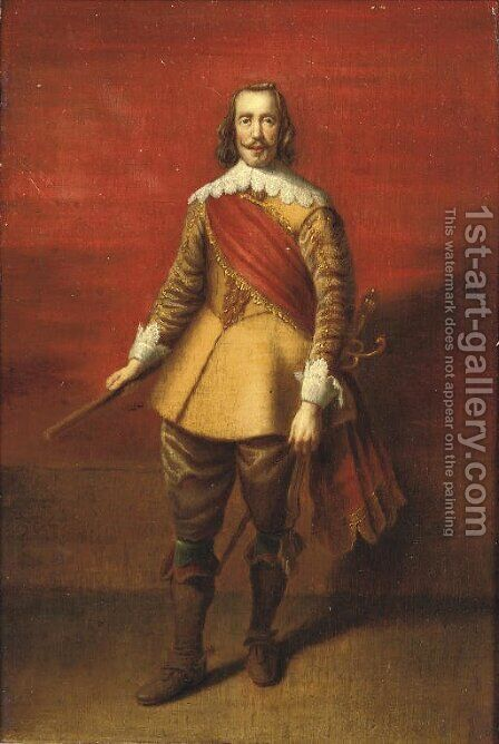 Portrait of a Nobleman, full-length, in a gold embroidered yellow costume with lace cuffs and collar and a red sash by (after) Dyck, Sir Anthony van - Reproduction Oil Painting