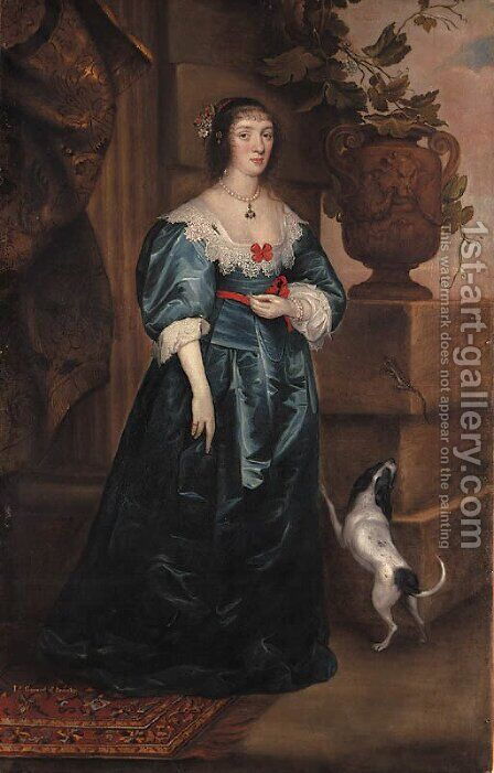Portrait of Mary, Lady Gerard, of Bromley, full-length, in a blue dress, a dog at her side, beside a classical urn on a plinth on which rests a lizard by (after) Dyck, Sir Anthony van - Reproduction Oil Painting