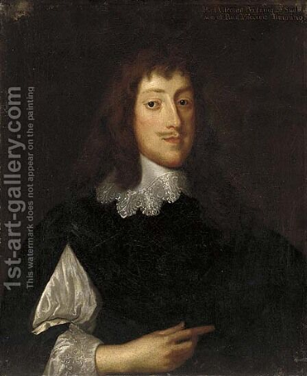 Portrait of Paul, Viscount Bayning (1616-1638), of Sudbury, in a black jacket and lace collar by (after) Dyck, Sir Anthony van - Reproduction Oil Painting