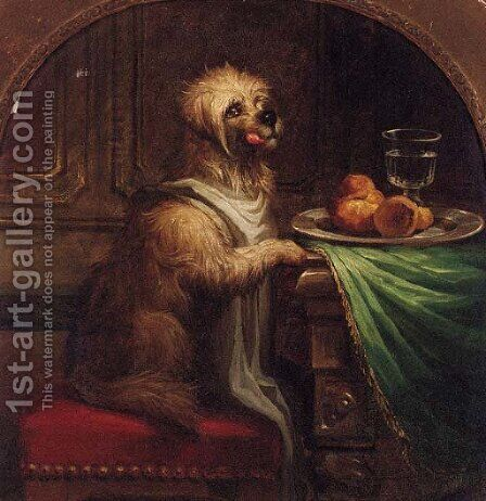 A Dog's Dinner by (after) Landseer, Sir Edwin - Reproduction Oil Painting