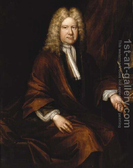Portrait of a gentleman, seated three-quarter-length, in a brown robe and white cravat, by a writing table by (after) Kneller, Sir Godfrey - Reproduction Oil Painting