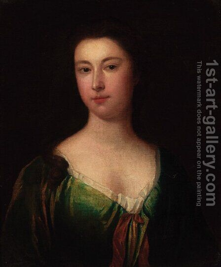 Portrait of a lady, bust-length, in a green dress by (after) Kneller, Sir Godfrey - Reproduction Oil Painting