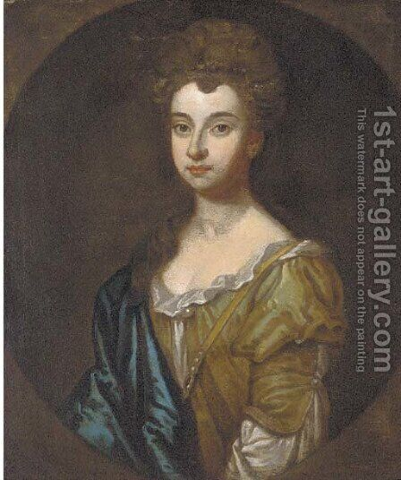 Portrait of a lady, bust-length, in a green dress and blue wrap by (after) Kneller, Sir Godfrey - Reproduction Oil Painting