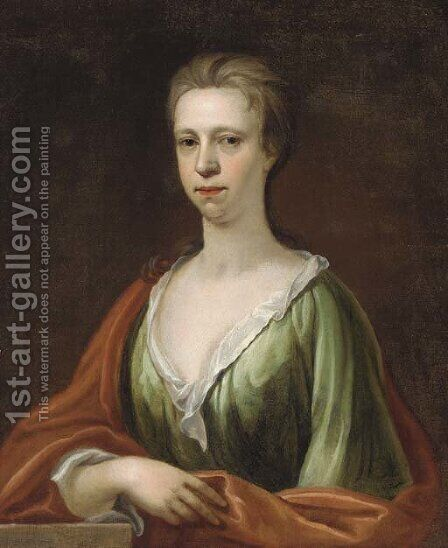 Portrait of a lady, bust-length, in a green dress and red wrap by (after) Kneller, Sir Godfrey - Reproduction Oil Painting