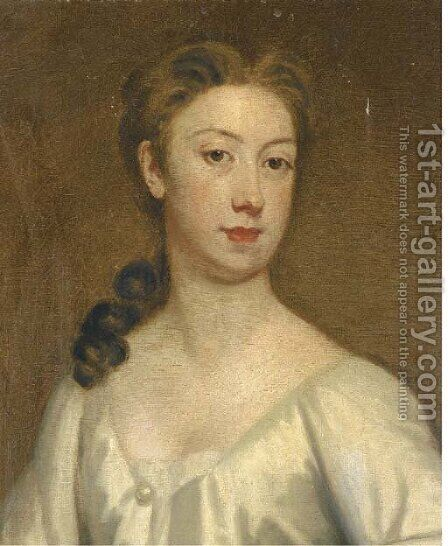 Portrait of a lady, bust-length, in a white dress by (after) Kneller, Sir Godfrey - Reproduction Oil Painting