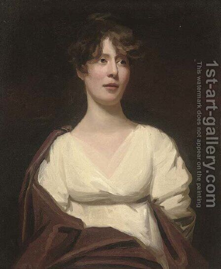 Portrait of a lady, half-length, in a white dress with a brown wrap by (after) Sir Henry Raeburn - Reproduction Oil Painting