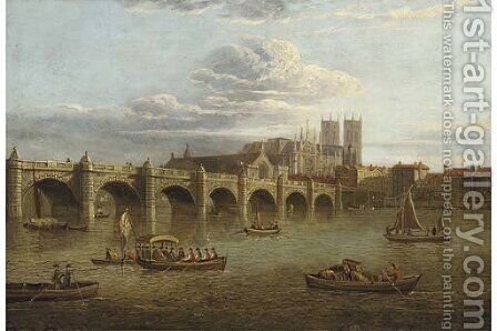 Old Westminster Bridge, with the Abbey beyond by (after) Paul, John Dean - Reproduction Oil Painting