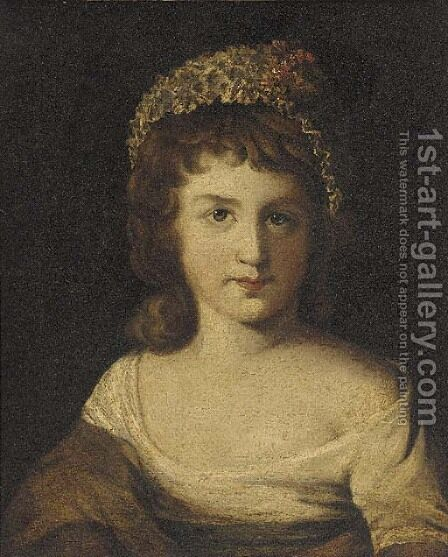 Portrait of a girl 2 by (after) Sir Joshua Reynolds - Reproduction Oil Painting