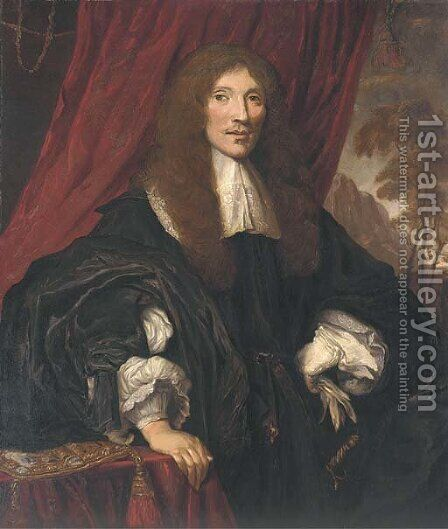 Portrait of a gentleman, half-length, in a black gown with lace collar and cuffs by (after) Sir Peter Lely - Reproduction Oil Painting