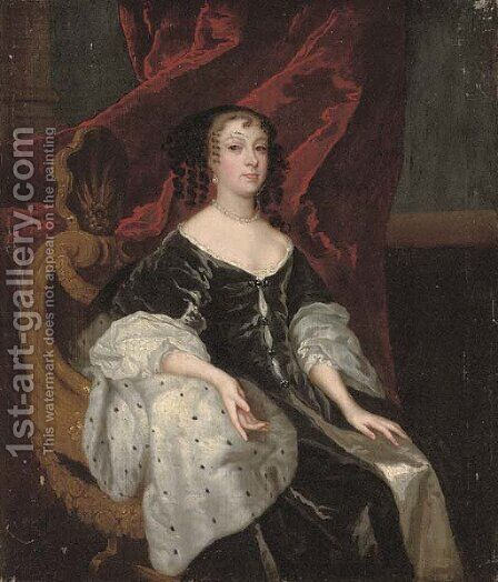 Portrait of a lady, three-quarter-length, seated in a black dress by (after) Sir Peter Lely - Reproduction Oil Painting