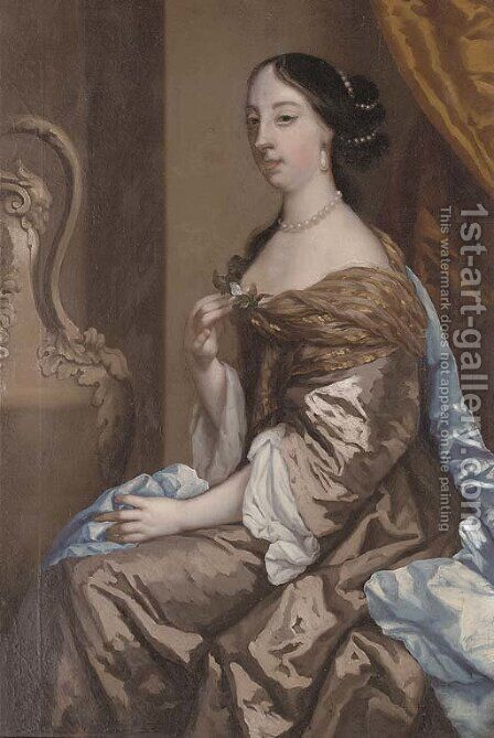 Portrait of a lady, traditionally identified as Barbara Palmer, nee Villiers, Duchess of Cleveland (1640-1709) by (after) Sir Peter Lely - Reproduction Oil Painting