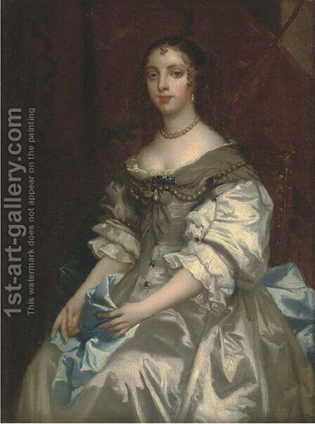 Portrait of a lady, traditionally identified Elizabeth, Countess of Devonshire (1619-1689) by (after) Sir Peter Lely - Reproduction Oil Painting