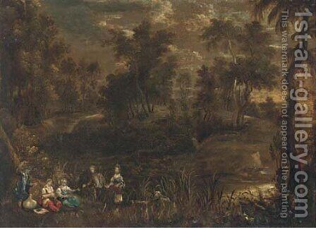 A wooded river landscape with elegant company in the foreground by (after) Sir Peter Paul Rubens - Reproduction Oil Painting