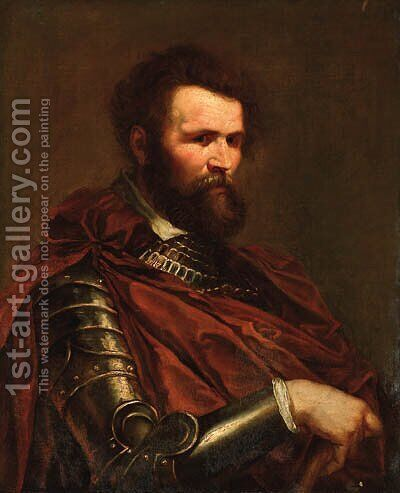 Portrait of a commander, half-length, in armour with a red sash by (after) Sir Peter Paul Rubens - Reproduction Oil Painting