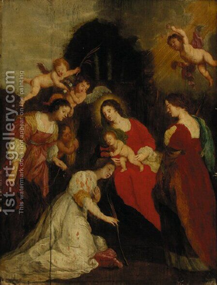The Crowning of Saint Catherine with Saint Agatha and Saint Euphemia by (after) Sir Peter Paul Rubens - Reproduction Oil Painting