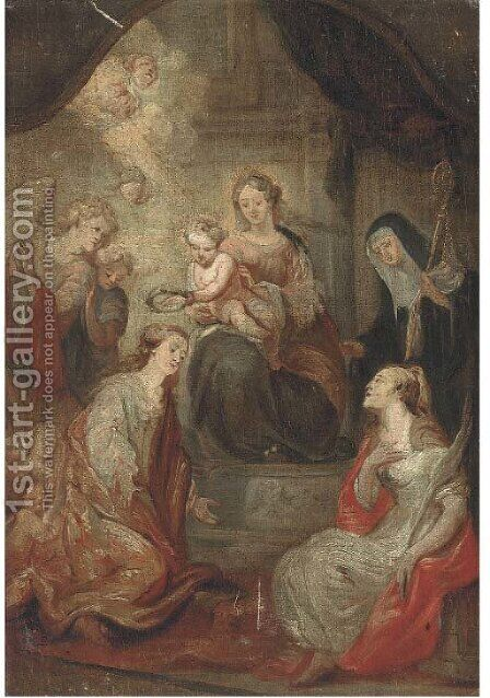 The Madonna and Child with Saints by (after) Sir Peter Paul Rubens - Reproduction Oil Painting