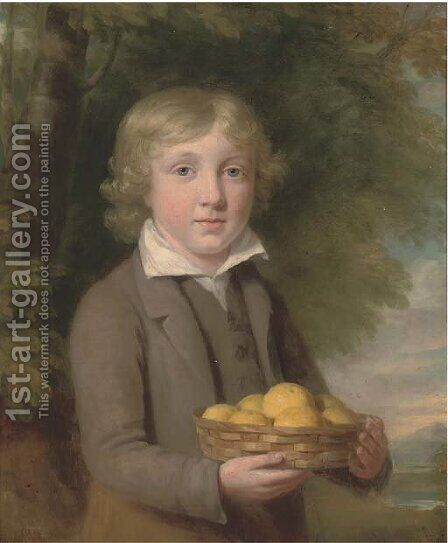 Portrait of a boy, half-length, wearing a brown suit and holding a basket of apples by (after) Sir William Beechey - Reproduction Oil Painting