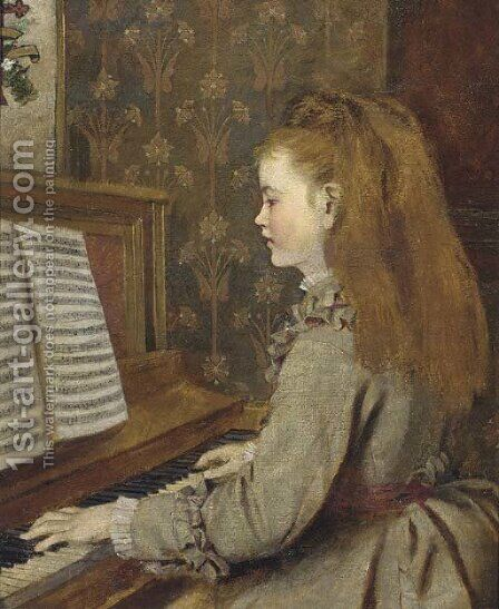 Portrait of a girl, playing the piano by (after) Sophie Gengembre Anderson - Reproduction Oil Painting