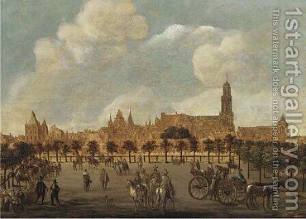 Figures in a park, Utrecht with the Dom Kerk and the Buurkerk beyond by (after) Sybrand Van Beest - Reproduction Oil Painting
