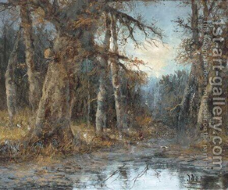 A pond in the woods by (after) Theodore Hines - Reproduction Oil Painting