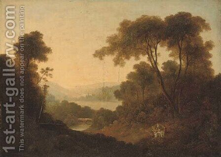 A wooded river landscape with travellers at rest on a bank by (after) Thomas Barker Of Bath - Reproduction Oil Painting