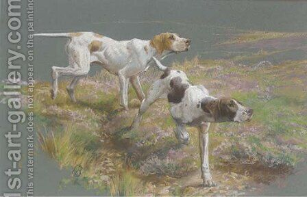 Pointers on the scent by (after) Thomas Blinks - Reproduction Oil Painting