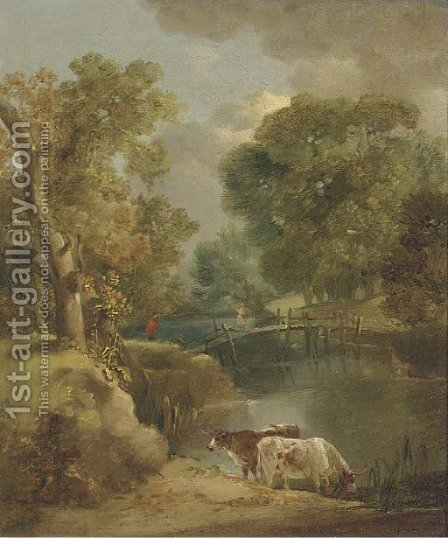 Cattle watering in a wooded landscape by (after) Gainsborough, Thomas - Reproduction Oil Painting