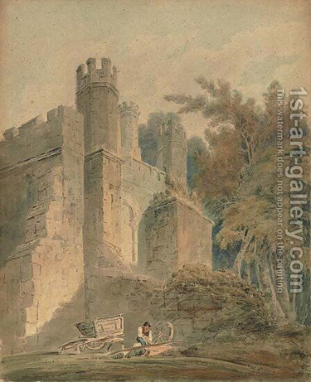 A woodman before a castle by (after) Girtin, Thomas - Reproduction Oil Painting