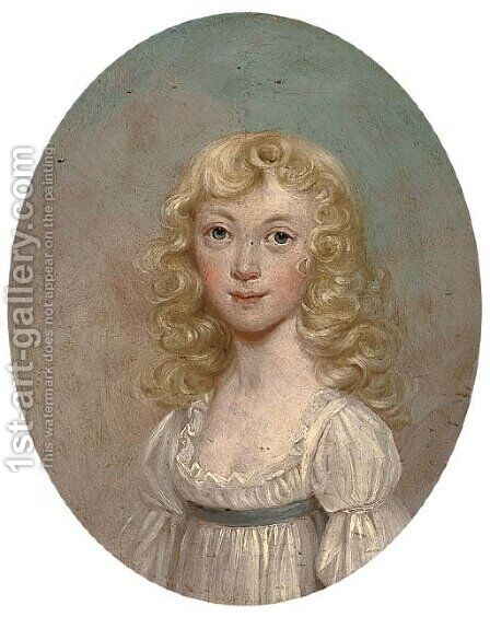 Portrait of a young girl by (after) Thomas Hickey - Reproduction Oil Painting