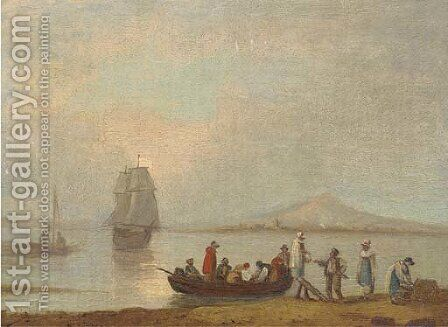 Figures disembarking from a ferry by (after) Thomas Luny - Reproduction Oil Painting
