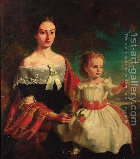 Portrait of Mrs Threshie and her daughter Luary Helen Threshie by (after) Thomas Musgrove Joy - Reproduction Oil Painting