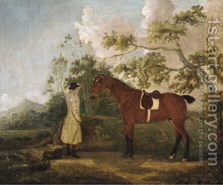 A bay hunter with a groom in a landscape by (after) Thomas Spencer - Reproduction Oil Painting