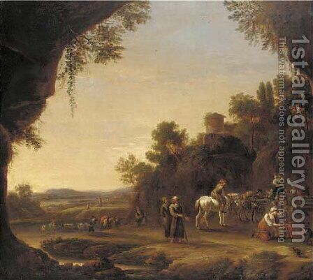 An Italianate landscape with travellers resting on a path near a river by (after) Thomas Wyck - Reproduction Oil Painting