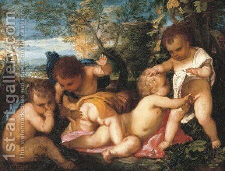 Putti cavorting in a landscape by (after) Tiziano Vecellio (Titian) - Reproduction Oil Painting