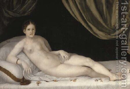 A lady as Venus, reclining on a bed by (after) Tiziano Vecellio (Titian) - Reproduction Oil Painting