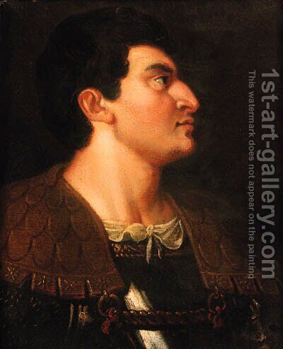 A nobleman, bust-length, in armour by (after) Tiziano Vecellio (Titian) - Reproduction Oil Painting