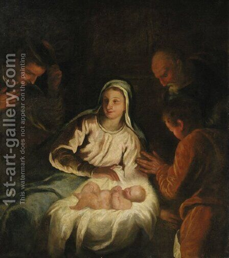 The Adoration of the Shepherds - a fragment by (after) Tiziano Vecellio (Titian) - Reproduction Oil Painting