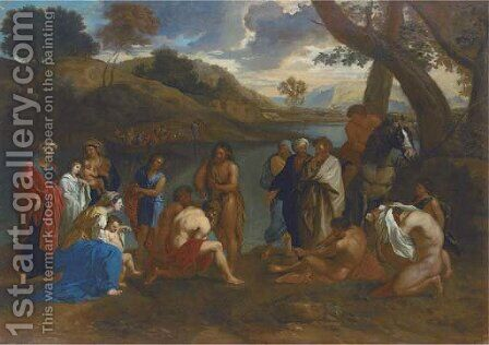 The Baptism of Christ by (after) Tiziano Vecellio (Titian) - Reproduction Oil Painting