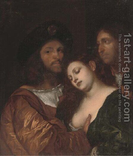 The lovers by (after) Tiziano Vecellio (Titian) - Reproduction Oil Painting