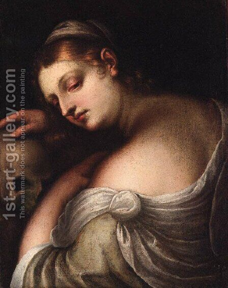 The Penitent Magdalen by (after) Tiziano Vecellio (Titian) - Reproduction Oil Painting