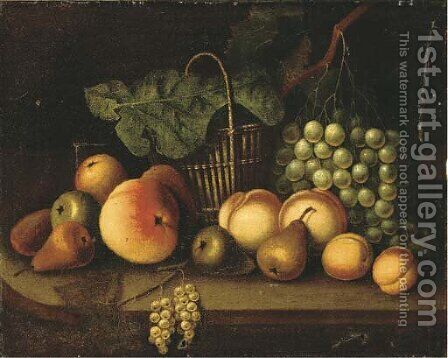 Grapes on the vine, pears, peaches, a wicker basket and other fruit on a ledge by (after) Tobias Stranover - Reproduction Oil Painting
