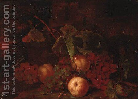 Grapes, peaches with vine leaves on a bank by (after) Tommaso Salini (Mao) - Reproduction Oil Painting