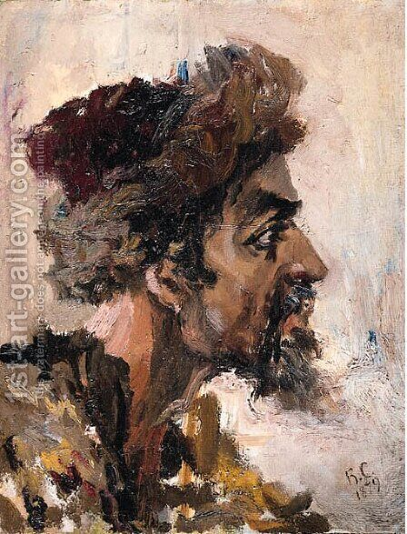 Study of the head of a Strelets for 'Morning of the Execution of the Streltsy' by (after) Vasilij Ivanovic Surikov - Reproduction Oil Painting